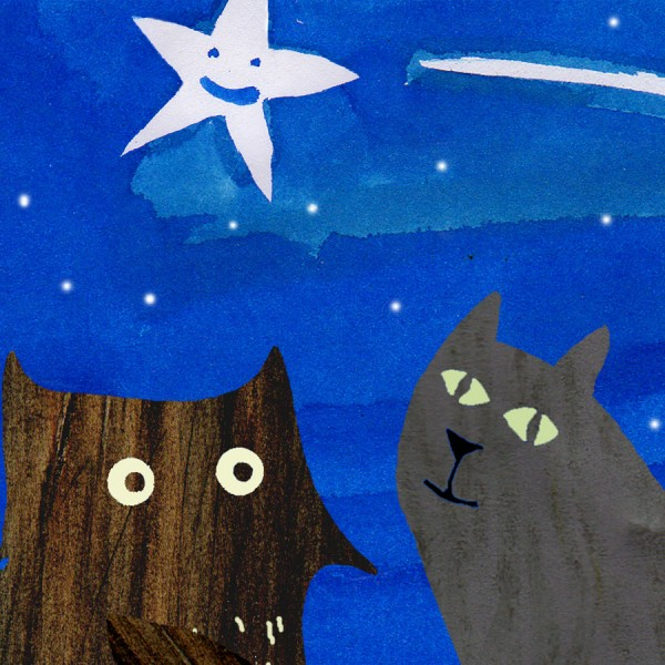 star gazing owl and cat card