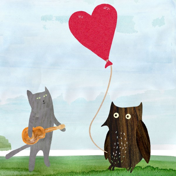 illustrated owl and cat annivesary card
