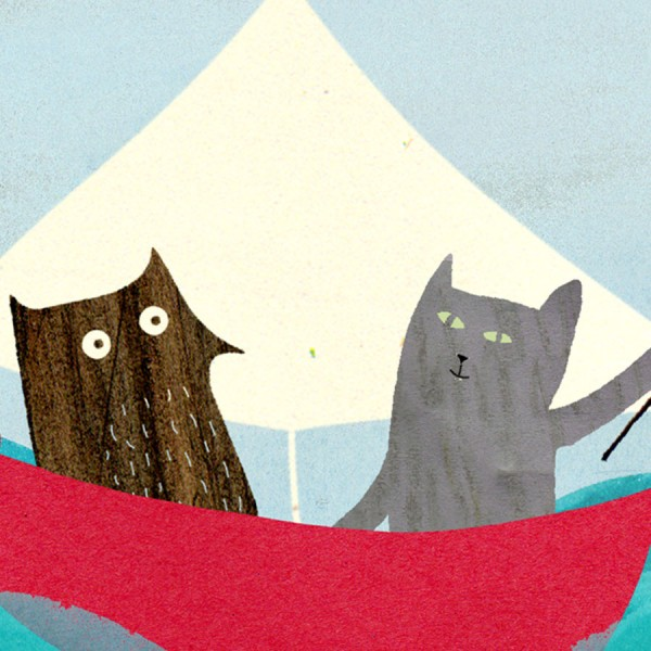 pussycat and owl sailing hooray card