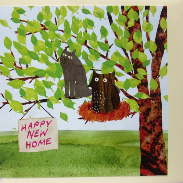 owl and cat new home card
