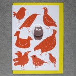 red birds and owl badge card