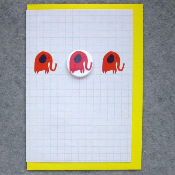 birthday card with elephant badge