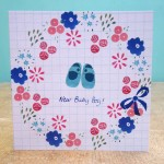 new baby boy flowers card by the black rabbit