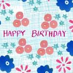 flowers happy birthday card by the black rabbit