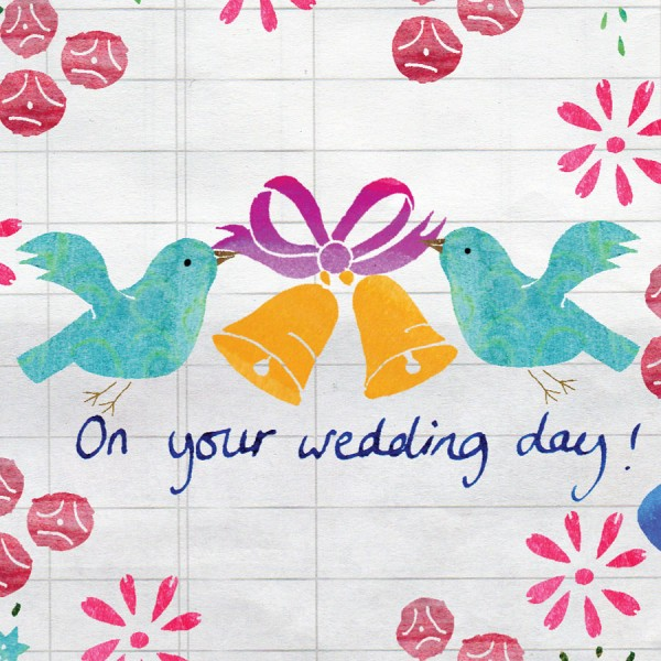 floral wedding greetings card by the black rabbit