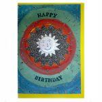badge happy birthday greetings card by the black rabbit