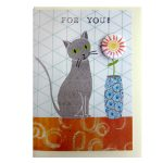cat badge greetings card by the black rabbit