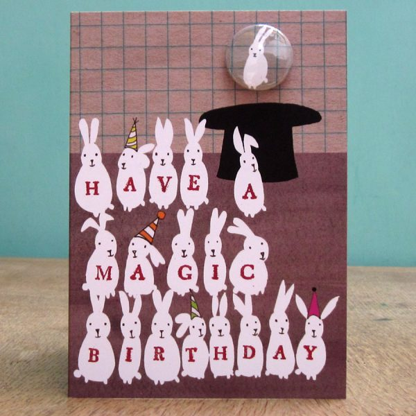 handmade badge greetings cards by the black rabbit