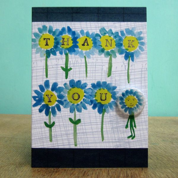 Handmade badge greetings card thank you flowers