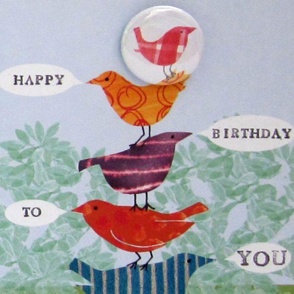 birds happy birthday card handmade badge the black rabbit