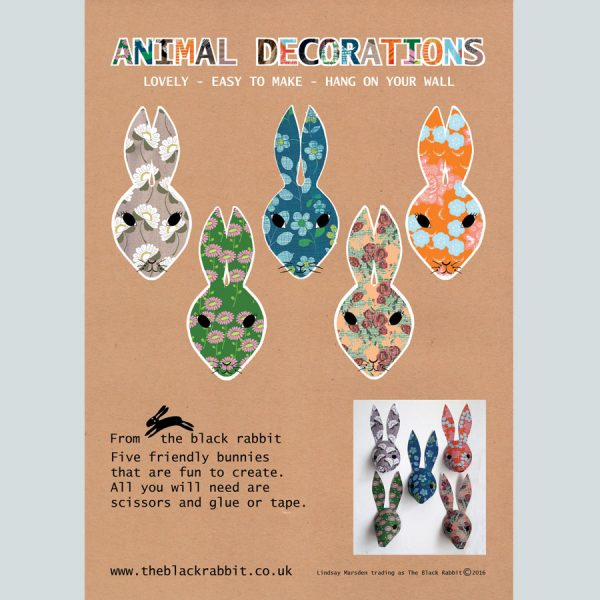 paper rabbit decorations floral print by the black rabbit