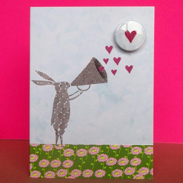 the black rabbit valentines heart badge greeting card handmade