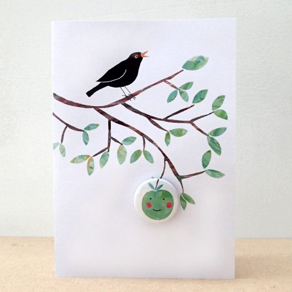 badge card with apple and blackbird by the black rabbit
