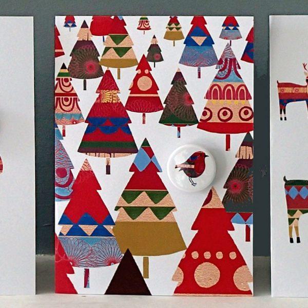 handmade badge card trees pattern the black rabbit