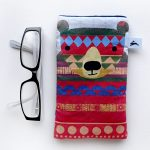 handmade pattern bear cat and owl glasses case by the black rabbit