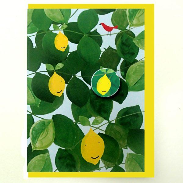 happy lemon badge card by the black rabbit