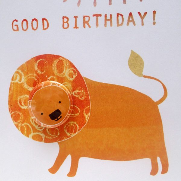 Lion pin badge birthday greetings card by the black rabbit