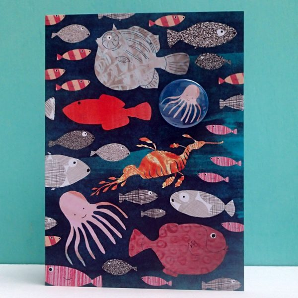 sea creatures badge card by the black rabbit