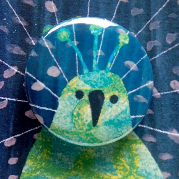 Peacock pin badge brithday greetings card by the black rabbit