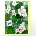 Green woodland handmade badge card by the black rabbit