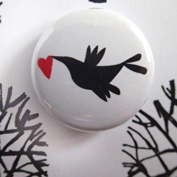Winter heart rabbit badge card by the black rabbit