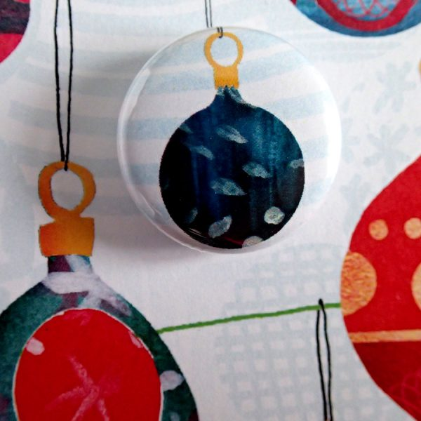 Christmas bauble badge card by the black rabbit