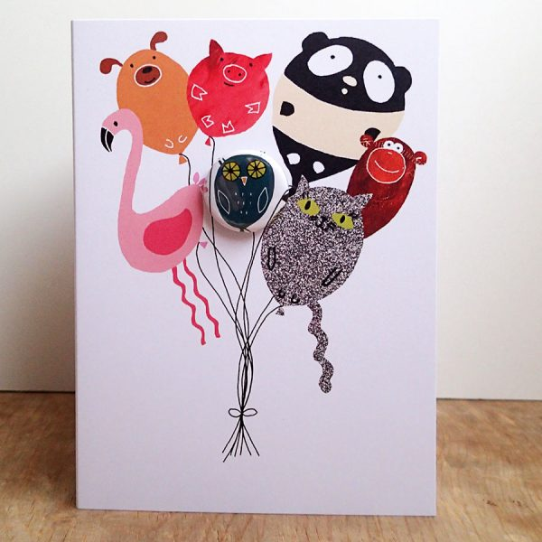 the black rabbit animal balloon badge greeting card with owl