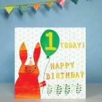 Age one first birthday card by The Black Rabbit