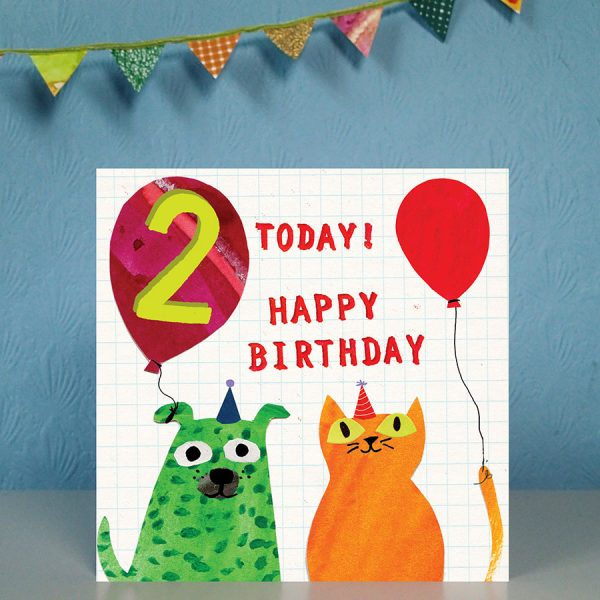 Age 2 birthday card by the black rabbit