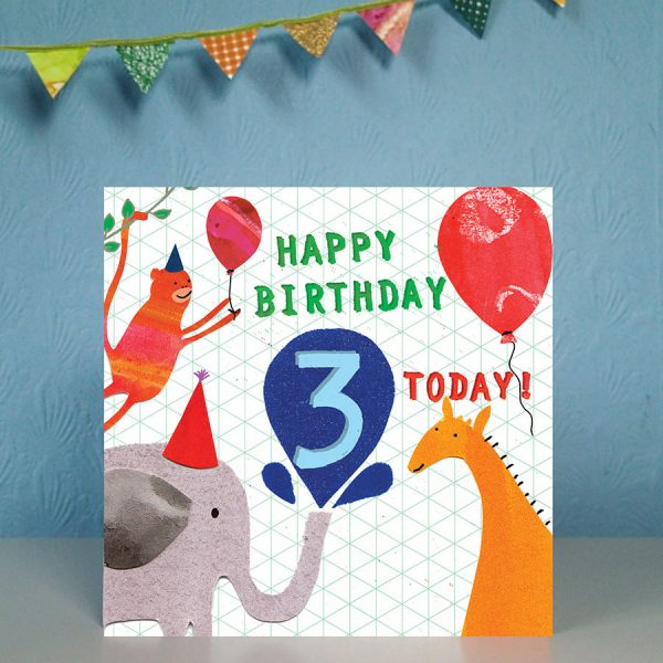 birthday age 3 card by the black rabbit