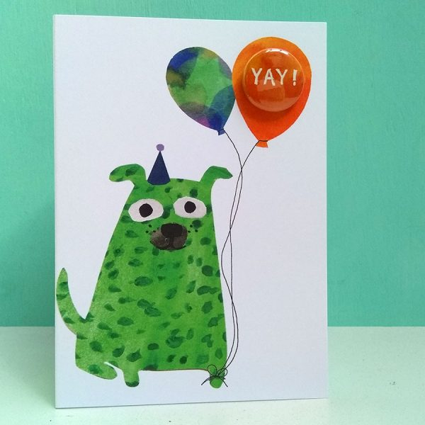 The black rabbit badge greetings card with balloon and dog