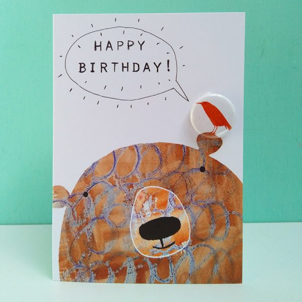 birthday card with badge and bear by the black rabbit
