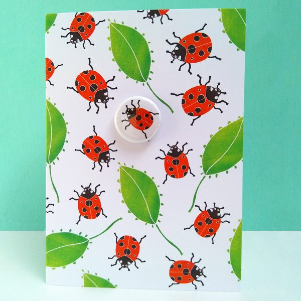 ladybird badge greetings card by the black rabbit