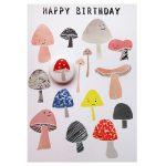 Mushroom birthday greetings card with badge by the black rabbit