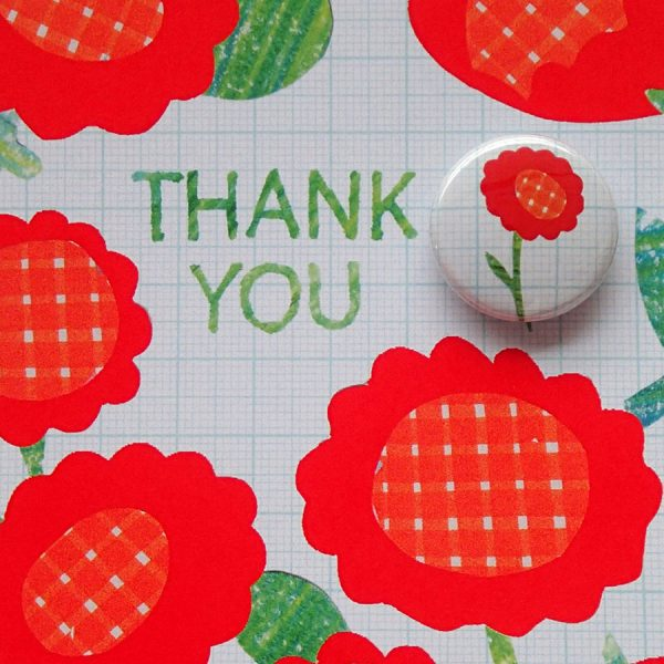 Thank you badge greetings card by the black rabbit