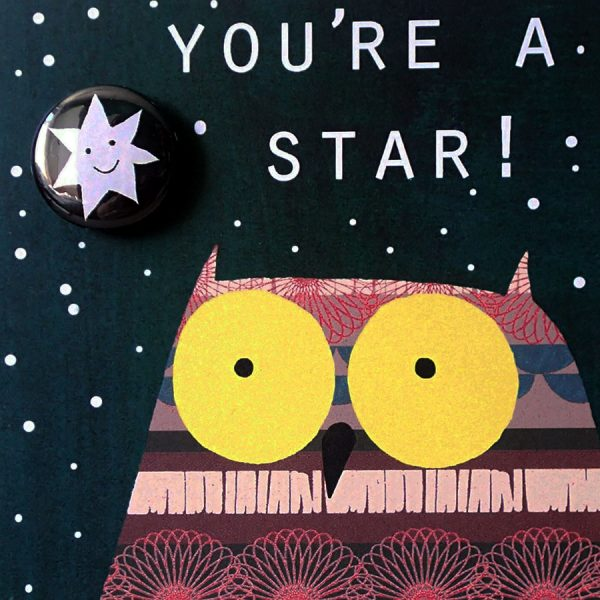 Owl star badge card by the black rabbit