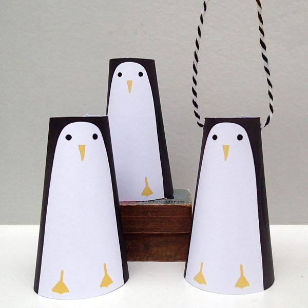 paper decorations penguins by the black rabbit