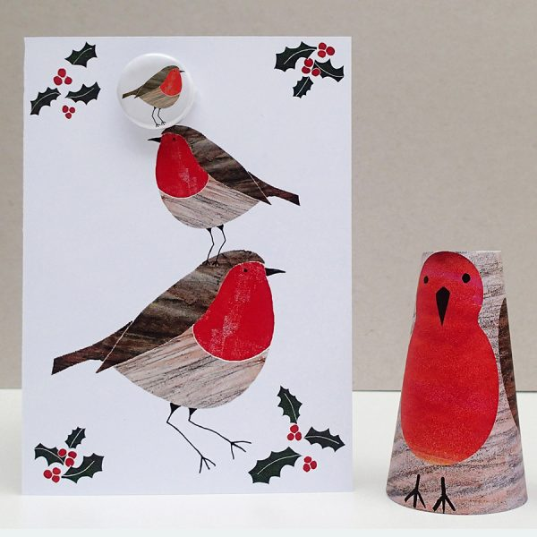 robin badge christmas card