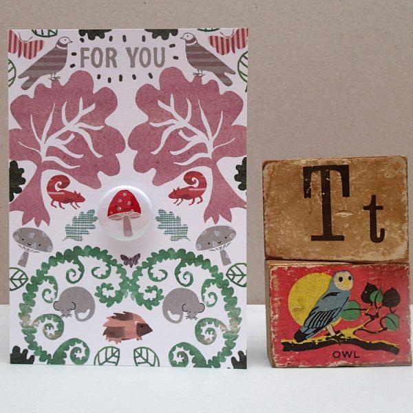 forest mushroom birthday badge greetings card by the black rabbit